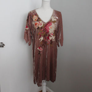Johnny Was Dresses - Johnny Was Chrys Cruched Velvet Embroidered Dress